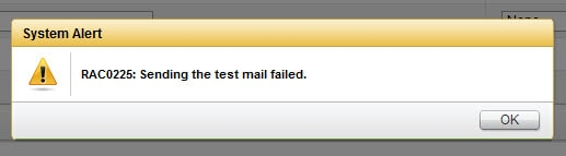 Sending the test mail failed