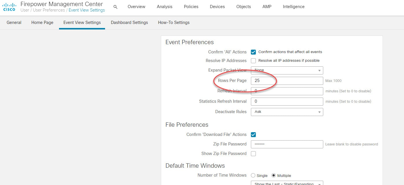 FMC increase events per page