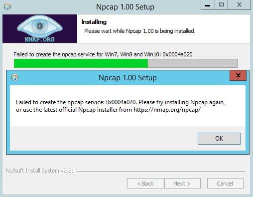 Failed to Create the Npcap Service